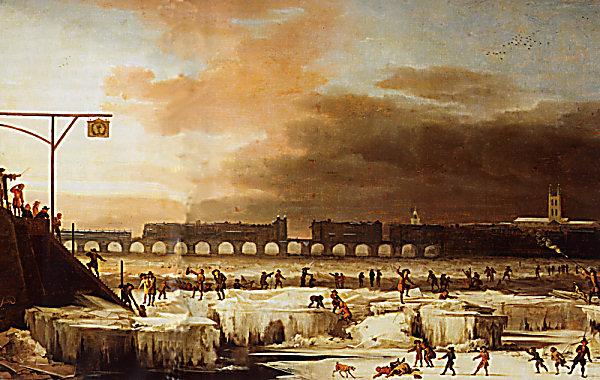 """Mynd 3: Meðan á litlu ísöldinni stóð var áin Thames við London oft ísi lögð. Málverkið er eftir Abraham Hondius (1630-1695). Museum of London. Fleiri myndir af """"Frost Fairs"""" á Thames eru til. Horft er niður eftir ánni í átt að gömlu Lundúnarbrúnni. Lengst til hægri handan brúarinnar er Southwark Cathedral, og þar til vinstri sést í turn St. Olave's Church."""