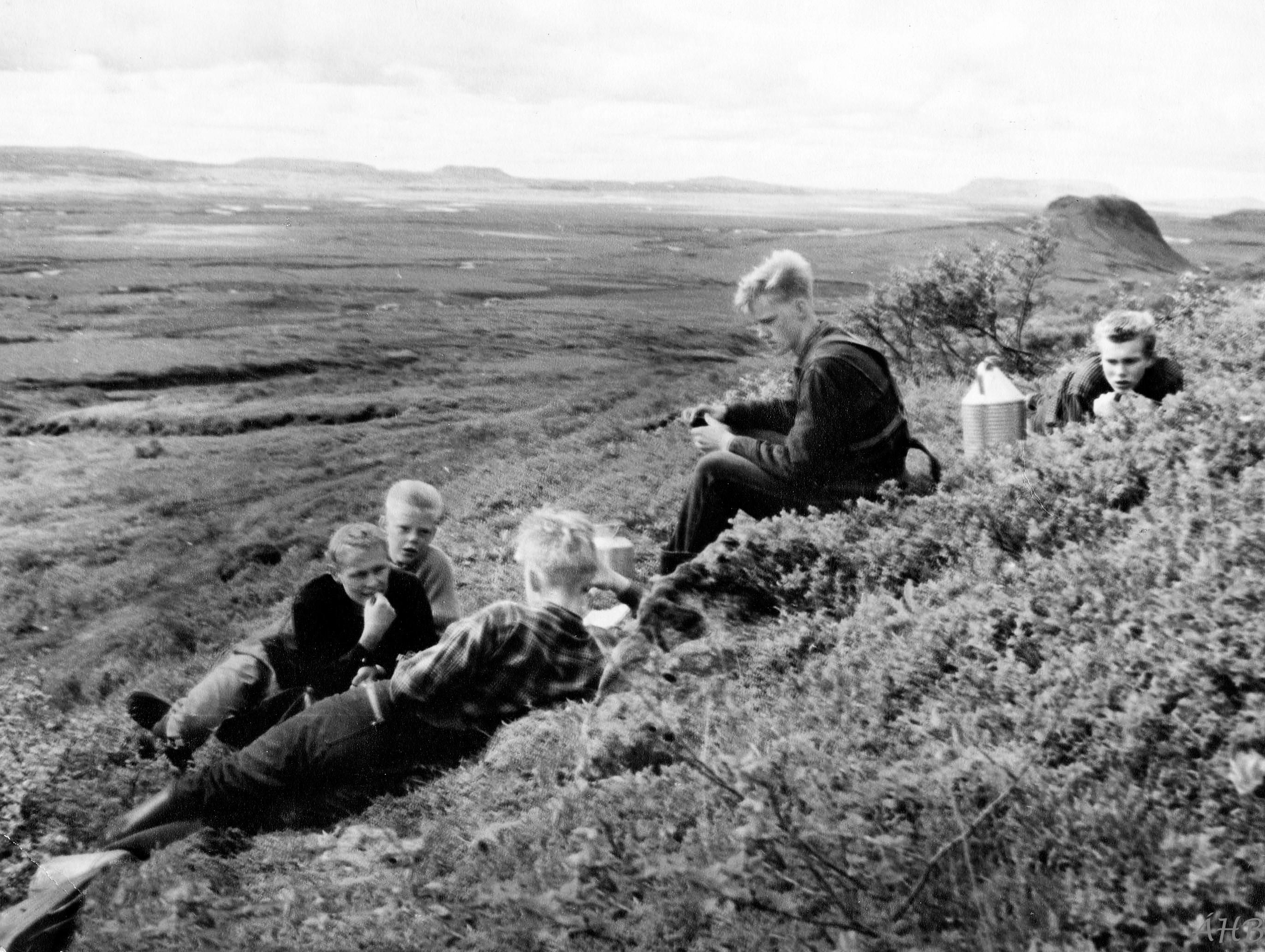 Í Haukadal 1961. Myndavélin var á þrífæti og heldur ritarinn á myndavélarhulstrinu